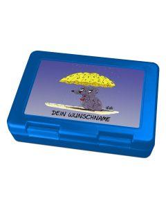 "Brotdose Lunchbox Blau ""Käseschirm"" - personalisierbar"