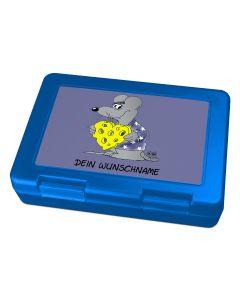"Brotdose Lunchbox Blau ""Käseherz"" - personalisierbar"