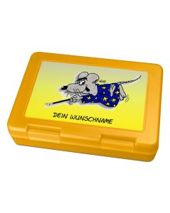 "Brotdose Lunchbox Gelb ""Zaubermaus"" - personalisierbar"