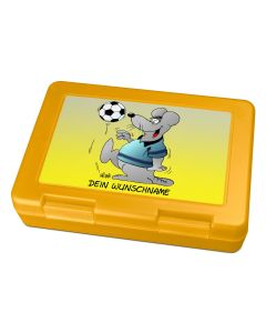 "Brotdose Lunchbox Gelb ""Fußball"" - personalisierbar"