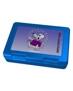 "Brotdose Lunchbox Blau ""Blumen"" - personalisierbar"